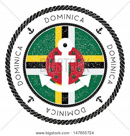 Nautical Travel Stamp With Dominica Flag And Anchor. Marine Rubber Stamp, With Round Rope Border And