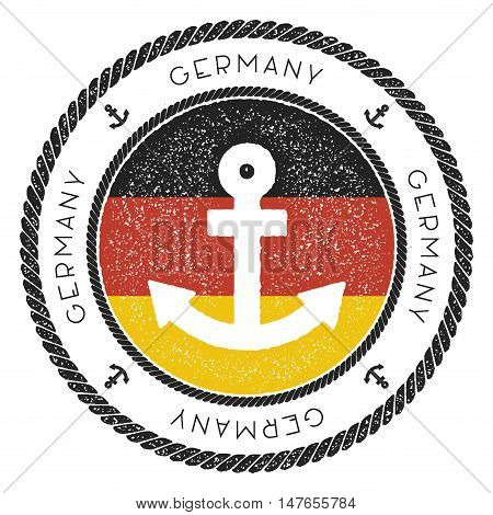 Nautical Travel Stamp With Germany Flag And Anchor. Marine Rubber Stamp, With Round Rope Border And