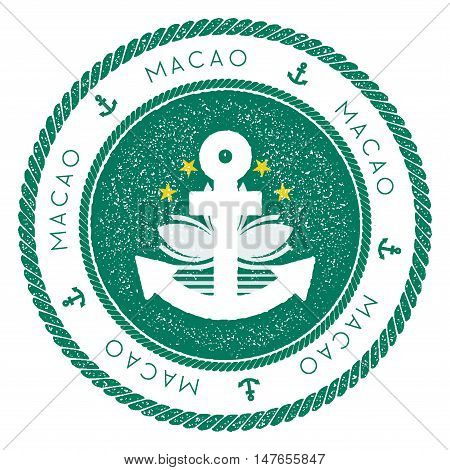 Nautical Travel Stamp With Macao Flag And Anchor. Marine Rubber Stamp, With Round Rope Border And An