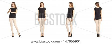 Portrait of woman on white background wearing skinny pants