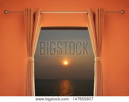 orange room have a window with blinds you can see sunset in evening for design Interior.