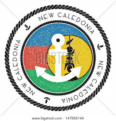 Nautical Travel Stamp With New Caledonia Flag And Anchor. Marine Rubber Stamp, With Round Rope Borde