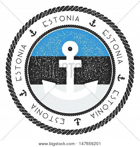 Nautical Travel Stamp With Estonia Flag And Anchor. Marine Rubber Stamp, With Round Rope Border And