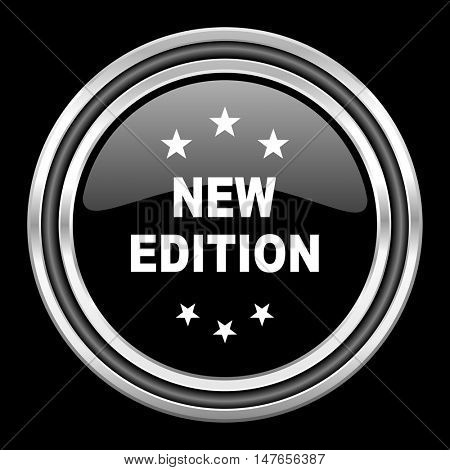 new edition silver chrome metallic round web icon on black background