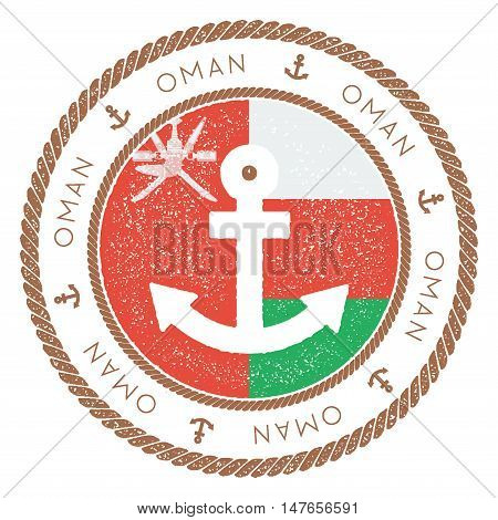 Nautical Travel Stamp With Oman Flag And Anchor. Marine Rubber Stamp, With Round Rope Border And Anc