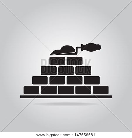 Brickwall and trowel icon building sign vector illustration