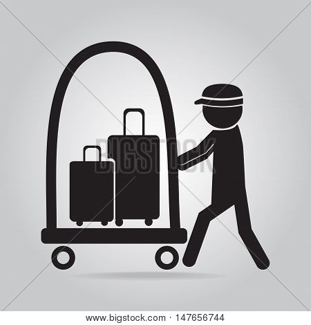 Man with Luggage and cart icon symbol button vector illustration