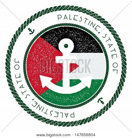 Nautical Travel Stamp With Palestine, State Of Flag And Anchor. Marine Rubber Stamp, With Round Rope
