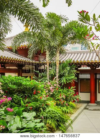 SINGAPORE, REPUBLIC OF SINGAPORE - JANUARY 09, 2014: Courtyard of the Buddhist temple. Buddha Tooth Relic Temple, Chinatown, Singapore city
