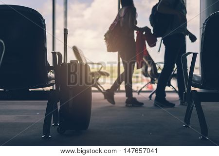 silhouette of Baggage in the airport Travel concept