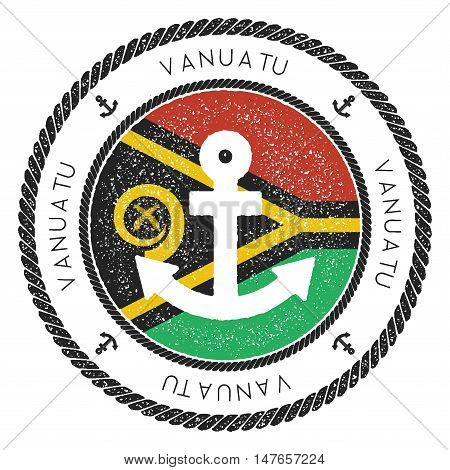 Nautical Travel Stamp With Vanuatu Flag And Anchor. Marine Rubber Stamp, With Round Rope Border And