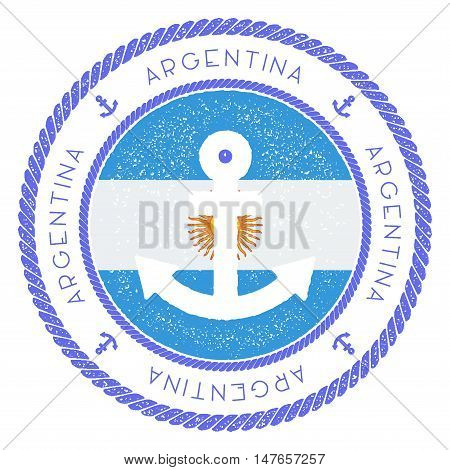 Nautical Travel Stamp With Argentina Flag And Anchor. Marine Rubber Stamp, With Round Rope Border An