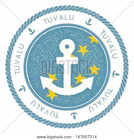 Nautical Travel Stamp With Tuvalu Flag And Anchor. Marine Rubber Stamp, With Round Rope Border And A
