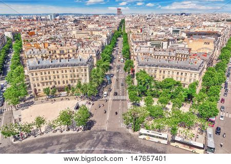 Paris, France- July 06, 2016 : Beautiful Panoramic View Of Paris From The Roof Of The Triumphal Arch