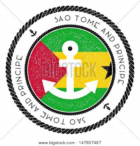 Nautical Travel Stamp With Sao Tome And Principe Flag And Anchor. Marine Rubber Stamp, With Round Ro