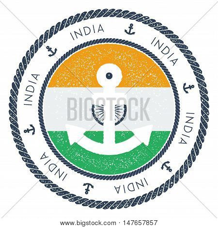 Nautical Travel Stamp With India Flag And Anchor. Marine Rubber Stamp, With Round Rope Border And An