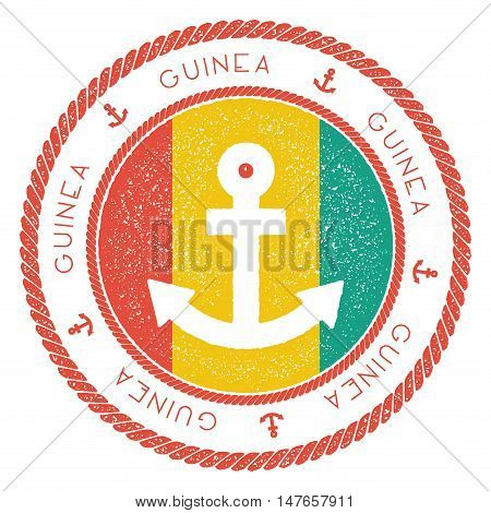 Nautical Travel Stamp With Guinea Flag And Anchor. Marine Rubber Stamp, With Round Rope Border And A
