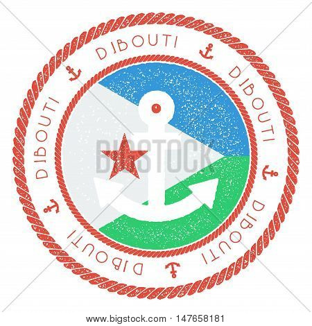 Nautical Travel Stamp With Djibouti Flag And Anchor. Marine Rubber Stamp, With Round Rope Border And