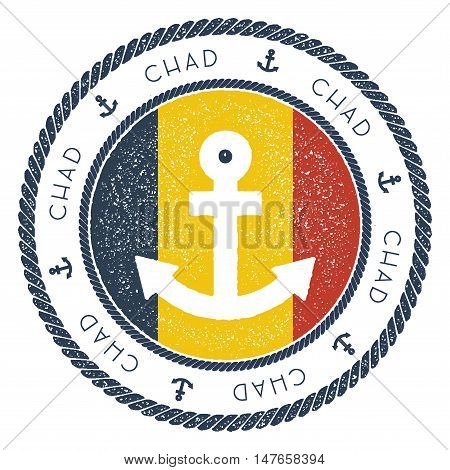 Nautical Travel Stamp With Chad Flag And Anchor. Marine Rubber Stamp, With Round Rope Border And Anc