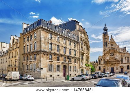 Paris, France - July 08, 2016 : Saint-etienne-du-mont Is A Church In Paris, France, Located On The M