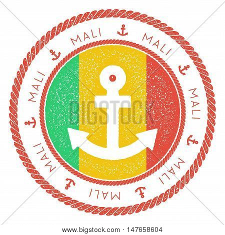 Nautical Travel Stamp With Mali Flag And Anchor. Marine Rubber Stamp, With Round Rope Border And Anc
