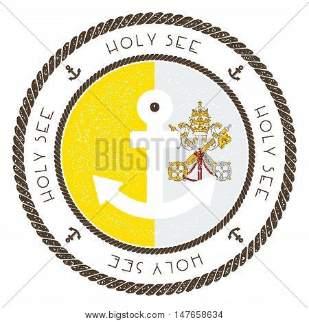 Nautical Travel Stamp With Holy See (vatican City State) Flag And Anchor. Marine Rubber Stamp, With