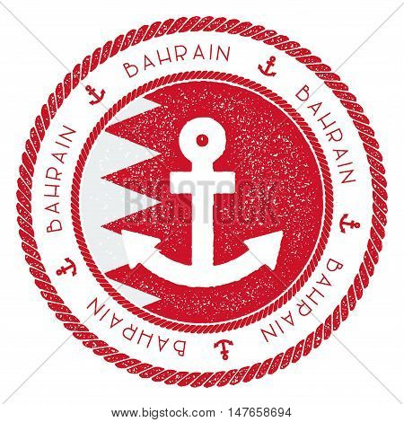 Nautical Travel Stamp With Bahrain Flag And Anchor. Marine Rubber Stamp, With Round Rope Border And