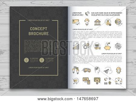 Business brochure design template A4 size. Elegant brand identity cover with elements for report, magazine, book cover and poster. Vector background with a minimalistic set of business icons