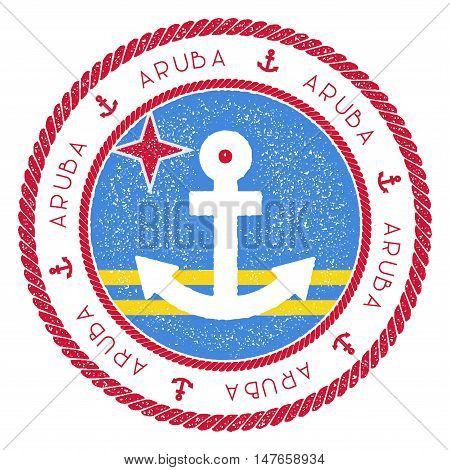Nautical Travel Stamp With Aruba Flag And Anchor. Marine Rubber Stamp, With Round Rope Border And An
