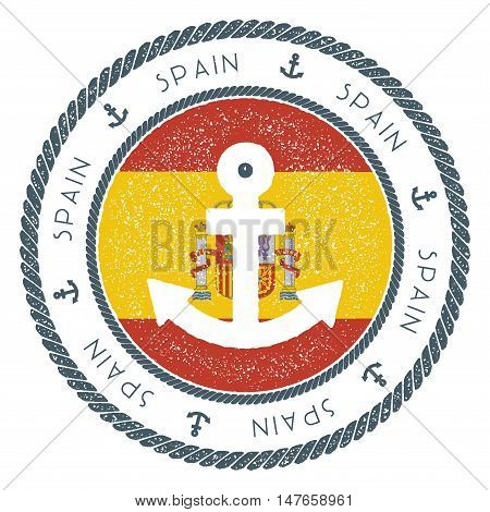 Nautical Travel Stamp With Spain Flag And Anchor. Marine Rubber Stamp, With Round Rope Border And An