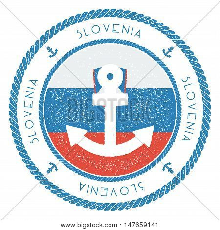 Nautical Travel Stamp With Slovenia Flag And Anchor. Marine Rubber Stamp, With Round Rope Border And