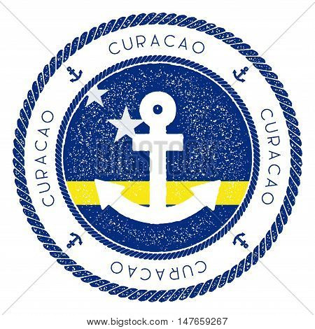 Nautical Travel Stamp With Curacao Flag And Anchor. Marine Rubber Stamp, With Round Rope Border And