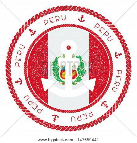 Nautical Travel Stamp With Peru Flag And Anchor. Marine Rubber Stamp, With Round Rope Border And Anc