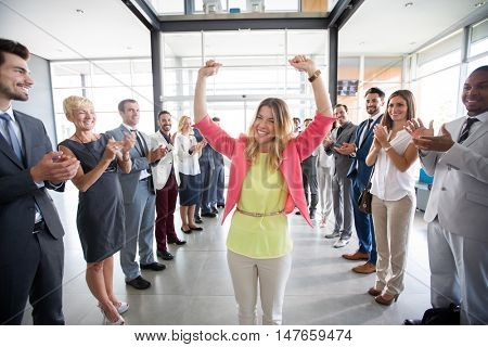 positive confident leader congratulations employer applauding