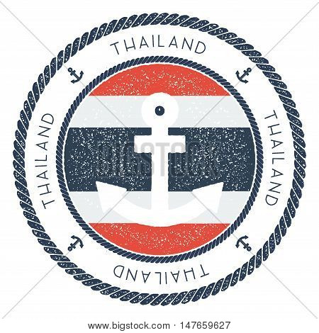 Nautical Travel Stamp With Thailand Flag And Anchor. Marine Rubber Stamp, With Round Rope Border And