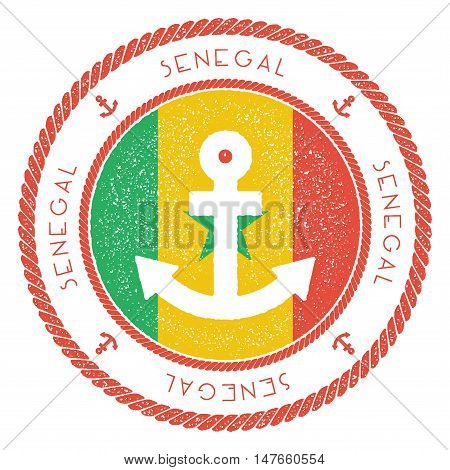 Nautical Travel Stamp With Senegal Flag And Anchor. Marine Rubber Stamp, With Round Rope Border And
