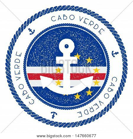Nautical Travel Stamp With Cape Verde Flag And Anchor. Marine Rubber Stamp, With Round Rope Border A