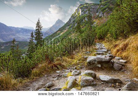 Hiking trail in Tatra National Park Poland