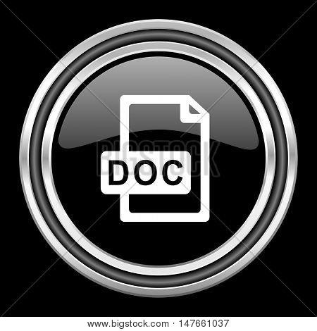 doc file silver chrome metallic round web icon on black background