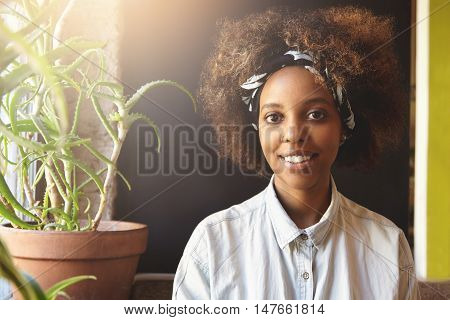 Portrait Of Cheerful Good-looking Fashionable African Girl Wearing Stylish Clothes And Nose-ring, Sp