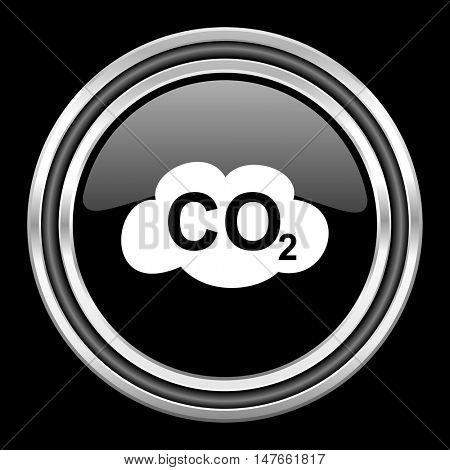carbon dioxide silver chrome metallic round web icon on black background