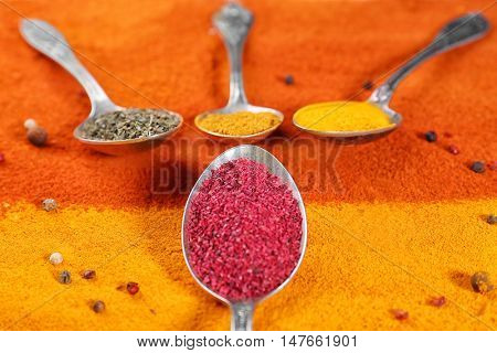 Spoons with spices on color background