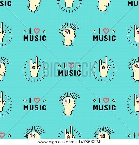 Music seamless pattern thin line art minimal design, Text I love music, punk with a mohawk, Hand Rock N Roll Sign, Hipster style vector illustration. Stylish turquoise background