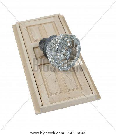 Clear Crystal Doorknob And Wooden Door