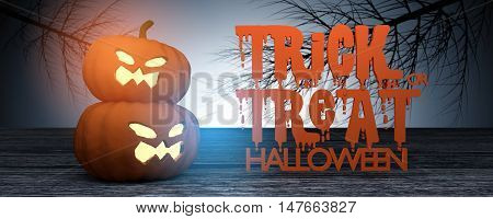 3D Rendering : Halloween head jack-o-lantern pumpkin on wooden floor with mystic night with dried tree in background,text Trick or treat Halloween,halloween concept illustration