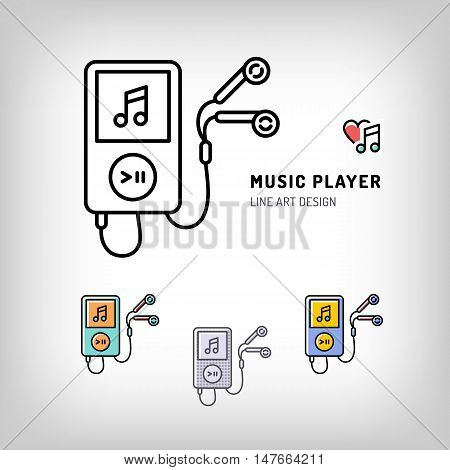 Music player isolated icon, the heart and the note, the love of music. Set of vector logos in modern art thin line style