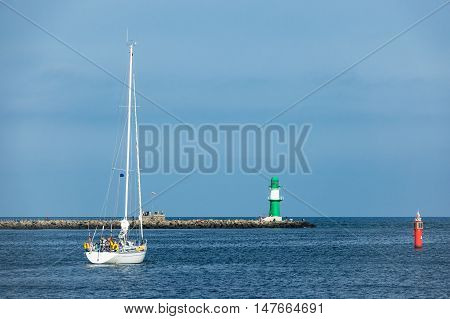 Sailing ship on the Baltic Sea in Rostock Germany.