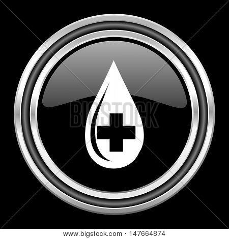 blood silver chrome metallic round web icon on black background