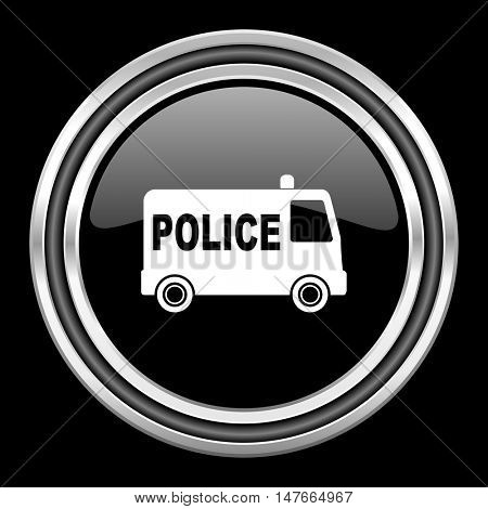 police silver chrome metallic round web icon on black background