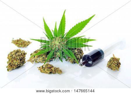 Medical marijuana and hash oil on white background